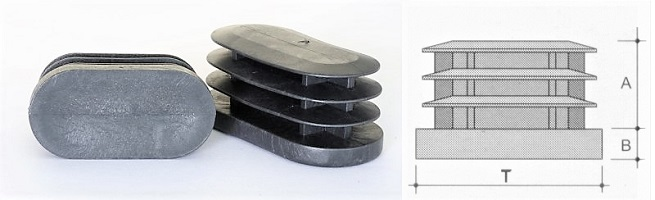 Puntali Ovali Alettati disponibili in colore nero, cromo, cromo lucido ( grigio alluminio) e vari altroi colori da campione e da master usati come fango tortora  etc etc