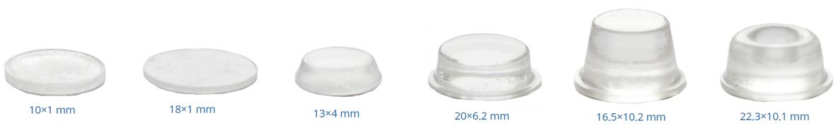 Adhesive buffers with flat head