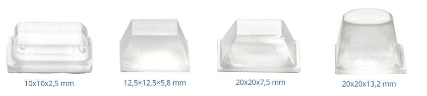 Squared adhesive buffer pads